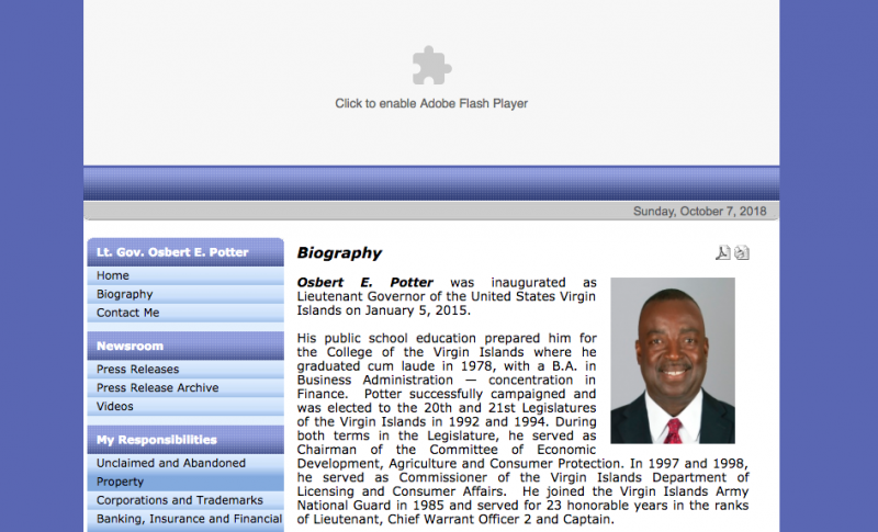 Osbert E. Potter website screenshot