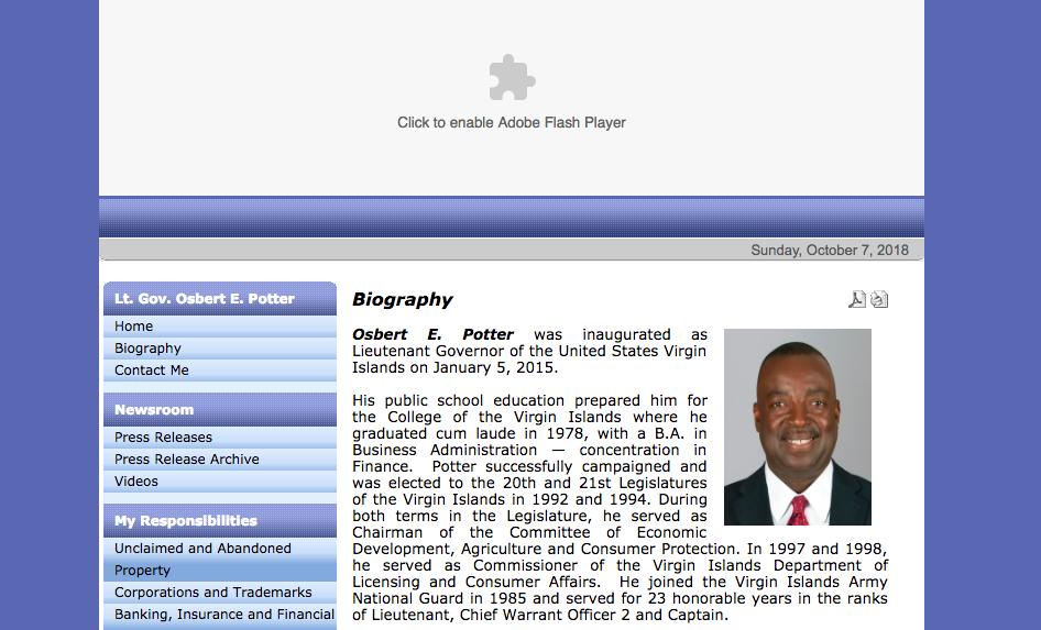 Osbert E. Potter website screenshot